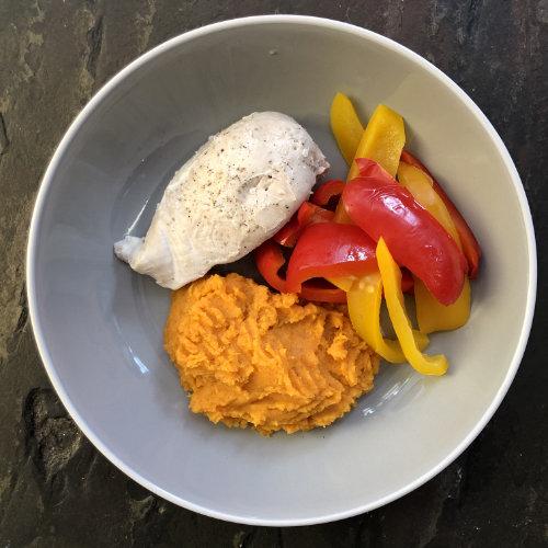 Chicken, Sweet Potato Mash & Peppers