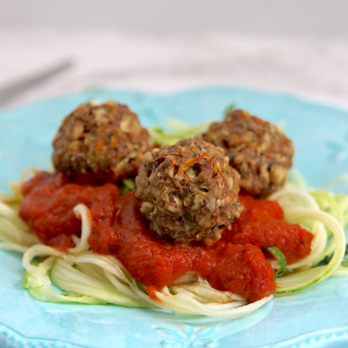 Vegetable Meatballs with Courgette Spaghetti